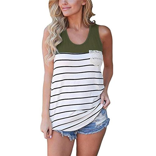Striped Burnout Tops (Perman Cheap Womens Sleeveless Casual Color Block Striped Racerback Crochet Pocket Cami Tank Tops (L, Army Green))