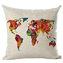 World Map Printed Cushion Cover LivebyCare Linen Cotton Cover Throw Pillow Case Sham Pattern Zipper Pillowslip Pillowcase For Decor Decorative Play Study Room