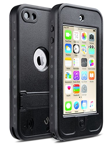Ipod Touch Screen Cover (iPod 6 Cases,iPod 5 Cases,iPod 5 iPod 6 Waterproof Case,ULAK Waterproof iPod Touch Case For Boys Girls Built-in Touch Screen Dustproof Sweatproof with Kickstand for iPod Touch 5 6th Generation(Black))
