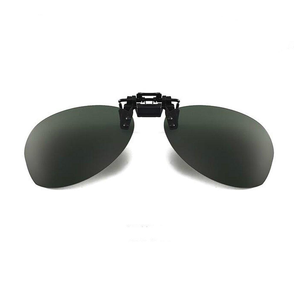 yuekuantaiダークグリーンパイロットサングラスクリップオンフリップアップ太陽眼鏡UV保護   B07CP5ZYSP