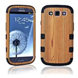 Topforcity Wood Grain Pattern Hybrid Impact Armored Hard Case for Samsung Galaxy S3 i9300 with Screen Protector(black)