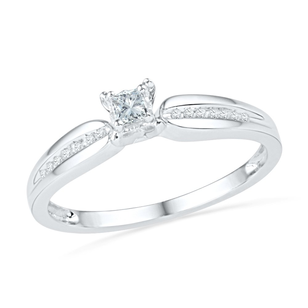 10KT White Gold Princess and Round Diamond Promis Ring (0.13 CTTW) by D-GOLD