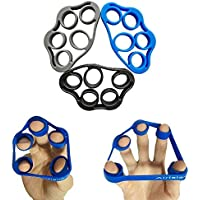 Airisland Finger Stretcher Hand Resistance Bands Hand Extensor Exerciser Finger Grip Strengthener Strength Trainer Gripper set for Arthritis Carpal Tunnel Exercise Guitar and Rock Climbing 3pcs