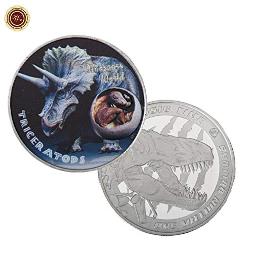 Vincent-Prestiges - WR Triceratops Dinosaur World Metal Coin 999.9 Silver Plated Silver Challenge Coins One Million Dollars Jurassic Time Gifts