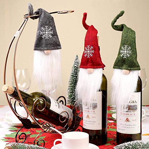 PartyTalk 6pcs Christmas Wine Bottle Toppers Decorative Handmade Swedish Tomte Gnome Wine Bottle Toppers for Home Holiday Christmas Decorations