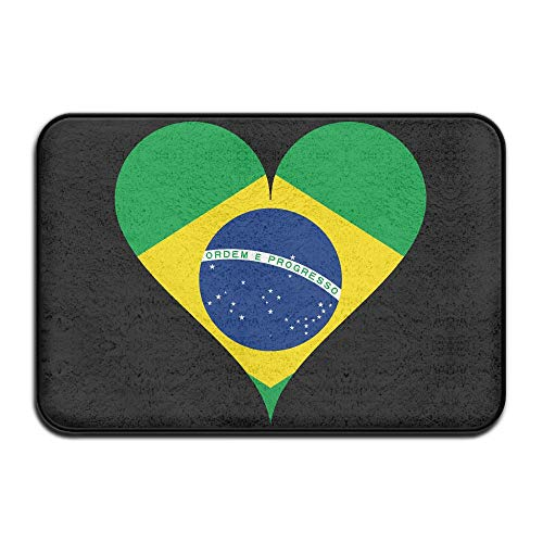 JLPOU-6 Dining Brazilian Flag Heart Doormat