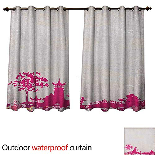 or Curtains for Patio Waterproof Traditional Pagoda in Pastel Colors Centre of Inner and Outer Peace Spiritual Theme W63 x L72(160cm x 183cm) ()
