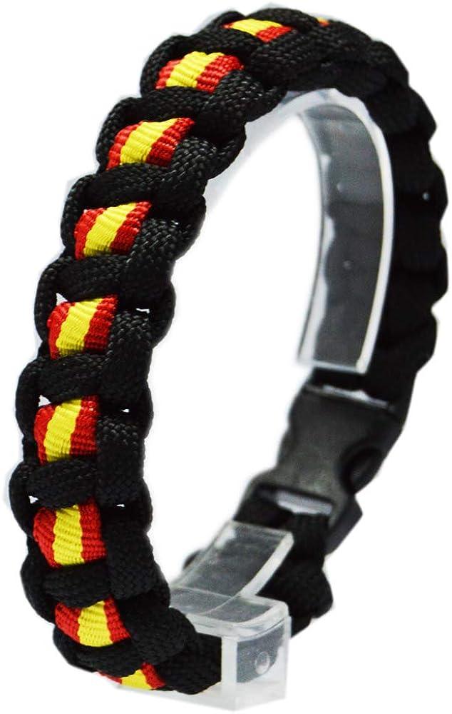 ALBERO Pulsera Paracord Negra con Bandera de España. Medida aproximada 21cm.: Amazon.es: Joyería