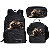 HUGS IDEA Cute School Bag Set Pocket Pug Black Backpack and Insulted Lunch Box Pen Case