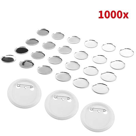 Pins Botones, 1000x Bricolaje DIY Alfiler en Blanco Botón Broche en Blanco de Bricolaje para