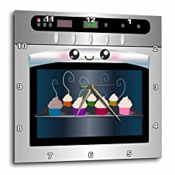 3dRose dpp_58309_2 Cute Kawaii Happy Smiling Oven Filled with Baking Cupcakes-For Chefs Foodies and Cooking Fans-Wall Clock, 13 by 13-Inch