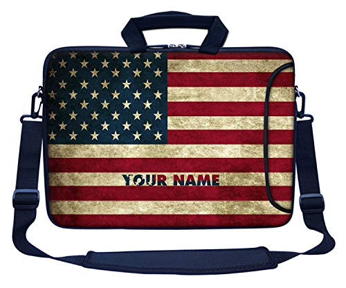 Price comparison product image Meffort Inc Custom / Personalized Laptop Bag with Side Pocket & Shoulder Strap for Notebook Ultrabook Chromebook,  Customized Your Name (14 Inch,  USA Flag)