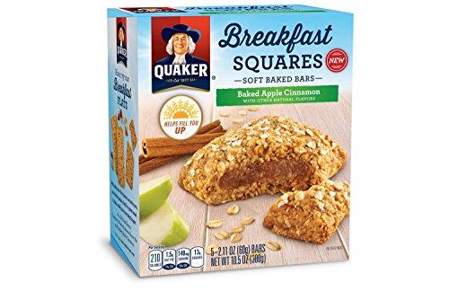 - Quaker Breakfast Squares Apple Cinnamon 5 serving count 10.5 oz- One box