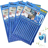 Drain Sticks Drain Stix Drain Cleaner & Deodorizer Sticks Drain Deodorizer Sticks for Clog Odor Unscented Non-Toxic for Kitchen Bathroom Sinks Pipes Septic Tank Safe As Seen On TV (48pcs, Blue)