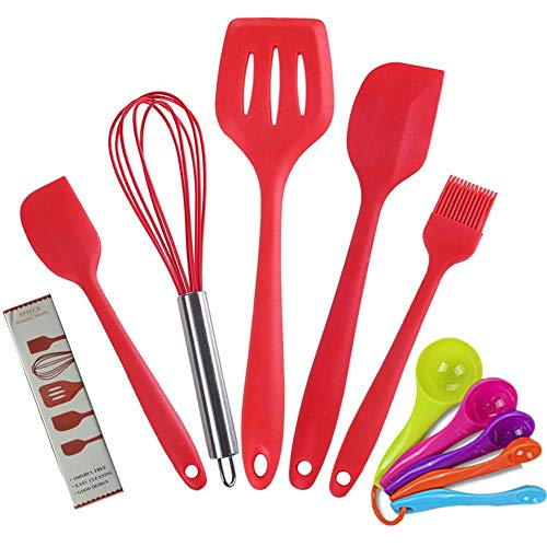 Cooking Utensils Set,Red Kitchen Utensil Set,Spatulas Silicone Heat Resistant Non-Stick Silicone Spatula,Egg Whisk,Basting Brush,Slotted Turner,Set of 5