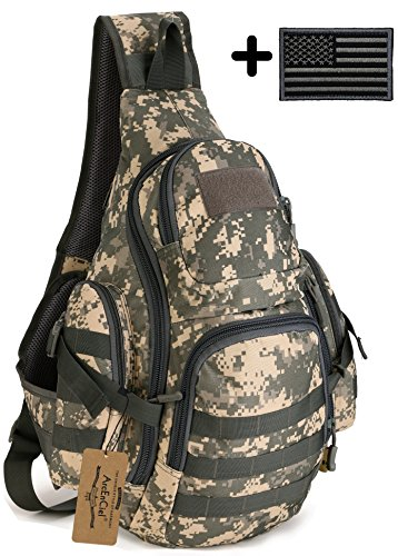Backpack Patch Camo (ArcEnCiel Tactical Sling Pack Backpack Military Shoulder Chest Bag with Patch (ACU)