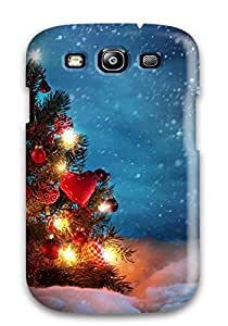 Excellent Galaxy S3 Case Tpu Cover Back Skin Protector Christmas Tree Outside Snow Night Decoration Lights Xmas Santa Claus Holiday Christmas