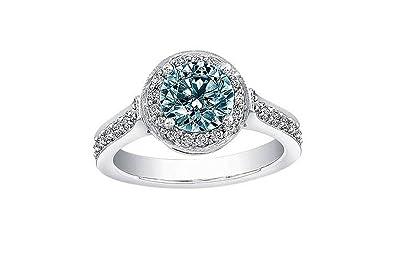 Diamantring verlobung blau  200 Karat Blau & Weiß Rund Verlobung Diamant Ring weiß Gold ...