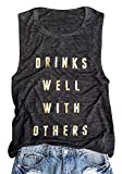 Women Drinks Well with Others Tank Top Summer Casual O Neck Sleeveless Shirt Top Size M (Black)