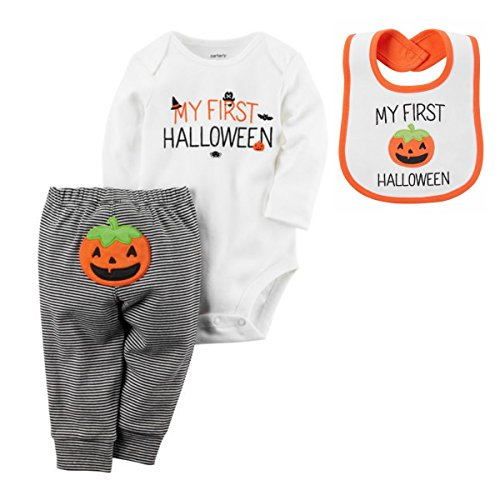 Carter's Unisex Baby First Halloween Bundle of 2-piece Bodysuit Pant Set and Pumpkin Teething Bib (12m, orange and (Carter's Baby Halloween Costumes)