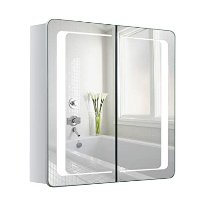 Warmiehomy LED beleuchteter Badezimmer Spiegelschrank mit Beleuchtung, Antibeschlag-Pad, Steckdose, Bluetooth Lautsprecher 60