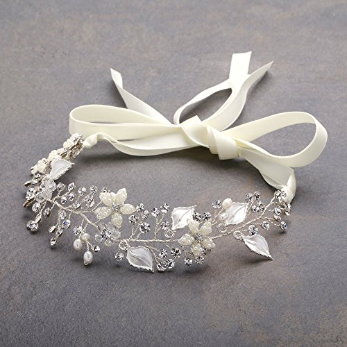Mariell Freshwater Pearl and Crystal Bridal Headband Hair Vine - Handmade Design