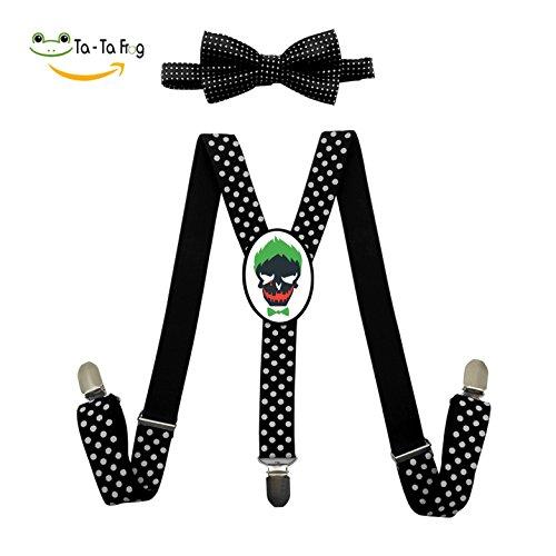 Green Joker Suicide Adjustable Suspenders Y-Back Suspender Bow Tie Bowknot Set Unisex Red Blue (Green Joker Costume)