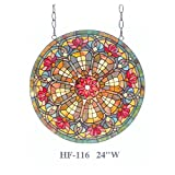 HF-116 Rural Vintage Tiffany Style Stained Church Art Glass Decorative Pastoral Geometry Round Window Hanging Glass Panel Suncatcher, 24''H24''W