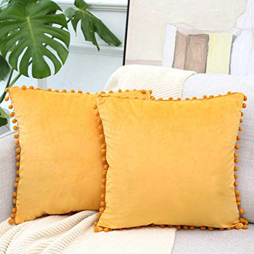 Vanky Mustard Yellow Velvet Decorative Throw Pillow Covers with Pompoms Soft Particles Cushion Covers 18 x 18 Inch Suitable for Sofa Bedroom Couch etc,Set of 2 (Couch Yellow Velvet)