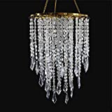 SUNLI HOUSE Wedding Chandelier Centerpieces Acrylic Beaded Iridescent with Gold Frame -Drop 12.9 Inches