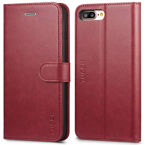 TUCCH iPhone 8 Plus Wallet Case, iPhone 7 Plus Case [Card Slot] Leather Flip Wallet Phone Case for iPhone 8 Plus / 7 Plus (5.5 Inch), Red