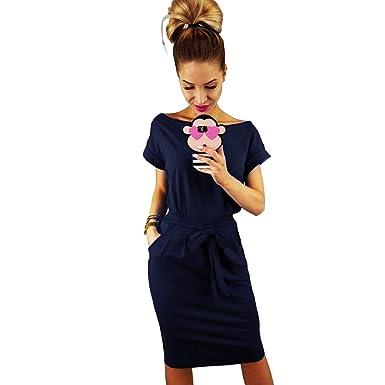 2c75b1908cd Longwu Women's Elegant Short Sleeve Wear to Work Casual Pencil Dress with  Belt Dark Blue-