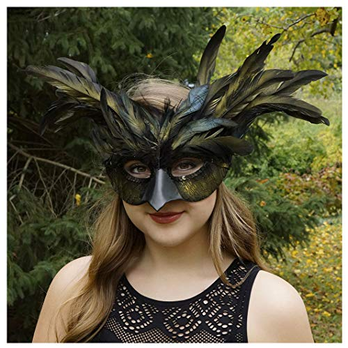Customized Black Feather Masquerade Mask - Mardi-Gras Halloween Cosplay Raven Costume for $<!--$19.78-->