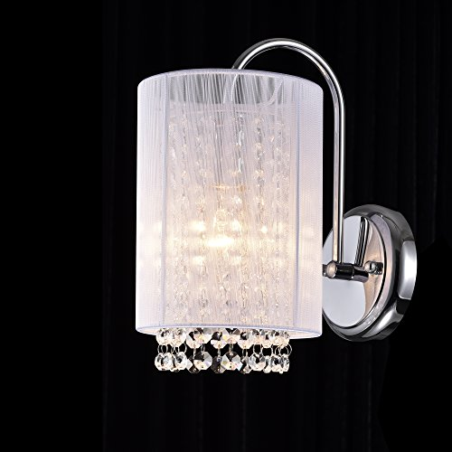 Wall Sconce Crystal Chandelier - LaLuLa Crystal Wall Sconce 1 Light Chrome Finish with White Shade Wall Lamp 17167