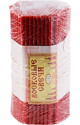 200 pcs. Orthodox blessed beeswax religious candles №80,Category B,festive red, 19 cm, burning time 1 hour , 13597