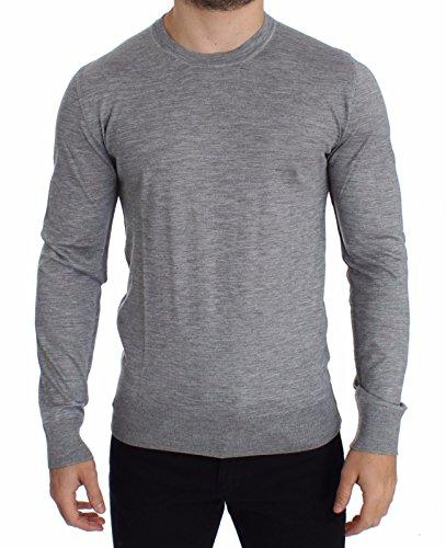 (Dolce & Gabbana Gray Silk Cashmere Crew-Neck Sweater)