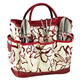 Picnic at Ascot Garden Tote with Tools, Red Floral