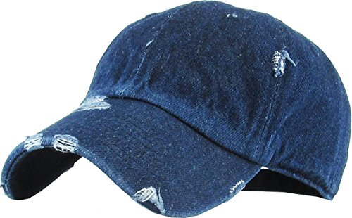 H-218-D75 Distressed Dad Hat Vintage Low Profile Baseball Cap - Dark Denim