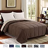 Brown King Size Comforter Homelike Moment Reversible Lightweight Comforter - All Season Down Alternative Comforter King Summer Duvet Insert Brown Quilted Bed Comforters with Corner Tabs King Size Chocolate Brown/Beige