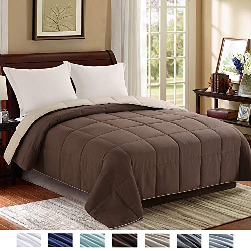 Homelike Moment Reversible Lightweight Comforter - All Season Down Alternative Comforter King Summer Duvet Insert Brown Quilted Bed Comforters with Corner Tabs King Size Chocolate Brown/Beige ()