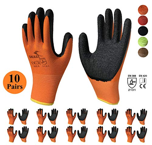 Nitrile Latex Rubber Palm Coated Safety Work Gloves, Nylon Knit, Textured Grip (10 Pair Value Pack) (Large, Orange)