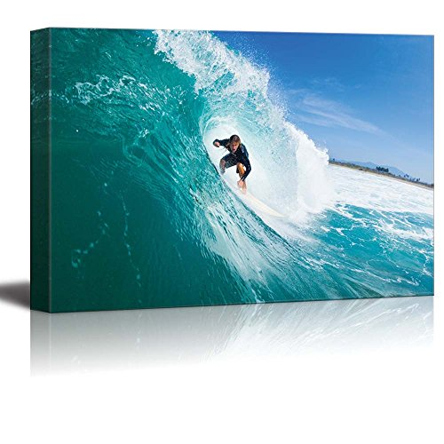 Surfer Riding Large Blue Ocean Wave Extreme Sports Wall Decor ation