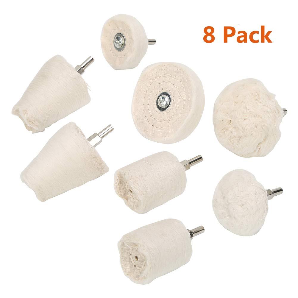 8Pcs Tampon de Polissage Roue Polissage Tampon Flanellette blanche Roue à polir Tête de meulage avec poignée 1/4' pour Métal Aluminium/Acier Inoxydable KIWISE