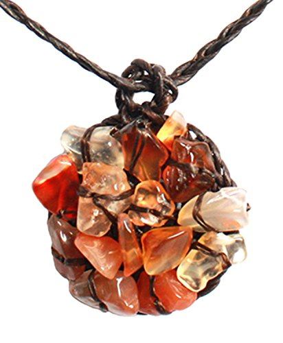 [Bijoux De Ja Handmade Orange Carnelian Stone Chip Crochet Pendant Necklace 16 Inches] (Home Made Angel Costumes Kids)