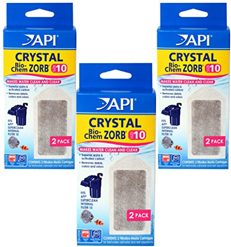 3 Pack  Api Crystal Bio Chem Zorb Internal Filter Cartridges  Size 10  2 Filters Each