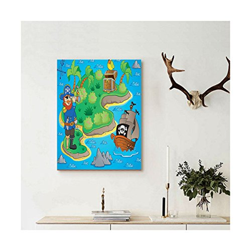 Liguo88 Custom canvas Island Map Decor Wall Hanging Funny Cartoon of Treasure Island with A Pirate Ship and Parrot Kids Play Room Decoration Decor - Map Fashion Store Island