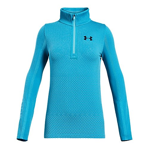 Under Armour Girls Seamless 1/2 Zip, Venetian Blue (448)/Academy, Youth Medium