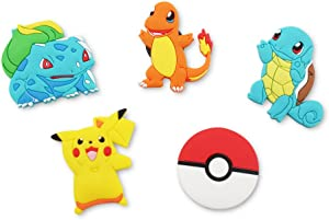 Finex - Set of 5 LARGE 3 inches - Pikachu Refrigerator Magnets Fridge Magnet Set for Locker - Yellow Pikachu Red Poke Ball White Pokeball Pikachu Charmander Bulbasaur Squirtle