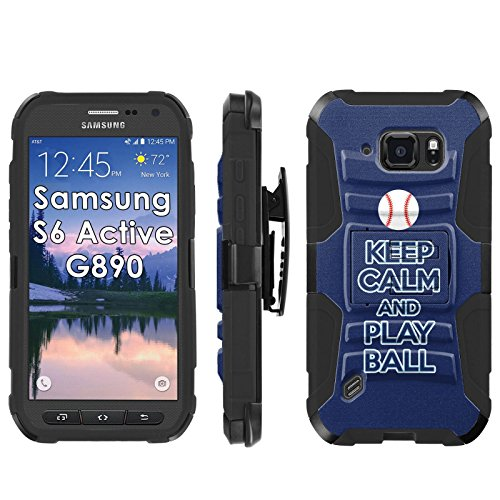 """Samsung Galaxy [S6 Active] G890 Armor Case [Mobiflare] [Black/Black] Armor [Holster] Phone Case Screen Protector - [Play Ball - Tampa Bay] for Samsung Galaxy [S6 Active] G890 [5.1"""" Screen]"""