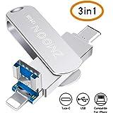 128 GB 3 in 1 USB Chiavetta, Espansione Memoria Multi-funzioni PenDrive compatibile per iPhone/Android/Windows (128 GB)